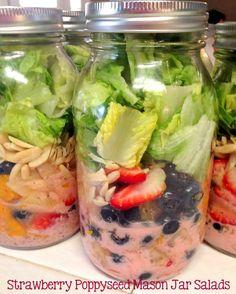Strawberry Poppyseed Mason Jar Salads Panera Copycat @ Ya Gotta Have a Hobby