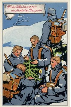 World War One Christmas Truce Frohe Weihnachten und glückliches Neujahr (Merry Christmas and a Happy New Year in German). From a festiveWorld War One card. #WWI #Christmas