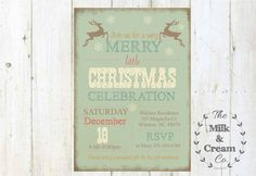 Vintage Reindeer Holiday Party Invite  by themilkandcreamco