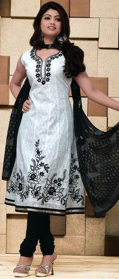 #White Readymade #Cotton Jacquard #Churidar #Kameez @ $75.01 | Shop @ http://www.utsavfashion.com/store/sarees-large.aspx?icode=kbp575