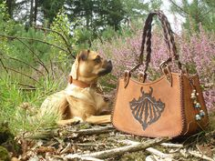Jeweleeches Vivian Hebing handmade leather handbag with of course my own design and my own glass beads and my own dog Sjefff hihihi!