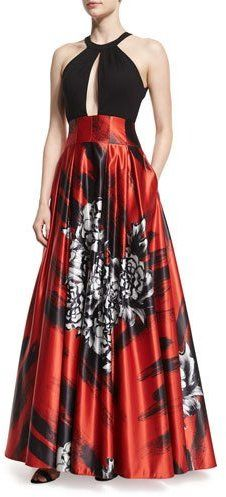 Jovani Sleeveless Keyhole Floral-Print Combo Gown.  Why it works: because this style shows off  your shoulders, but the voluminous skirt is what makes it work for you as it widens your hips to create balance with your shoulders.  The perfect style.  Plus I love the high waistline too!