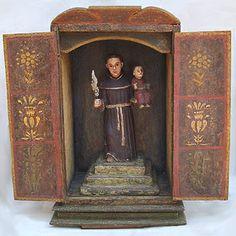 """San Antonio de Padua"" Colonial Vnzla.   Coro. Siglo XVIII. Policromado.  Medidas: 40 x 41 x 18 cms."
