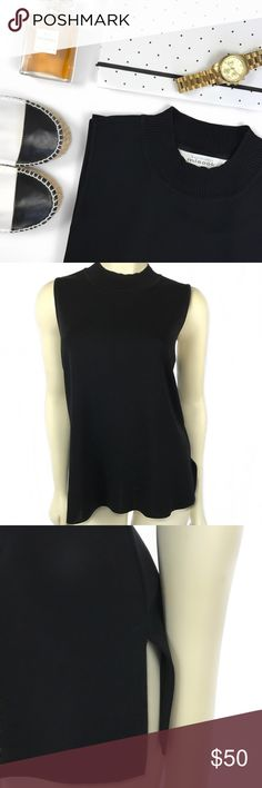 M i s o o k • B l a c k • T a n k • Sz XL Misook black collared sleeveless tank Sz XL (fits like a large) A sleeveless knit, pullover tank top in a longer length that is oh so flattering. This tank drapes beautifully and holds its shape and color from season to season. Great for layering with any  jacket or blazer! 100% Acrylic. Machine or Hand wash. Misook Tops Tank Tops