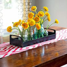 Put a runner on your kitchen table for a simple and cheap pop of color. #KitchenIdeas #DecoratingTips