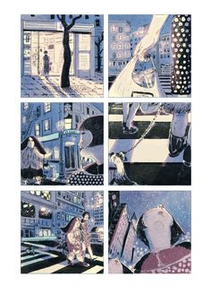 A short comic that uses the close up, moment to moment method to portray a particular part of the scene. This particular scene illustrates a woman walking across the street.