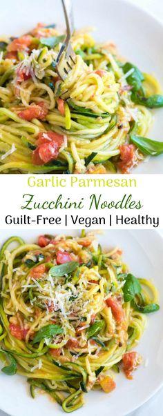 Cook Zucchini Noodles, Zucchini Pasta Recipes, Veggie Noodles, Garlic Recipes, Veggie Recipes, Healthy Recipes, Dishes Recipes, Recipes Dinner, Vegetarian Recipes