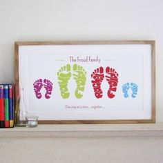 Personalised Family Footprints Art - Life is a Journey - So MEANINGFUL and a feeling of WARM. and foot care Personalised Family Foot Print Family Crafts, Crafts For Kids, Diy Crafts, Family Art Projects, Idee Cadeau Baby Shower, Handprint Art, Baby Handprint Ideas, Footprint Art, Name Art