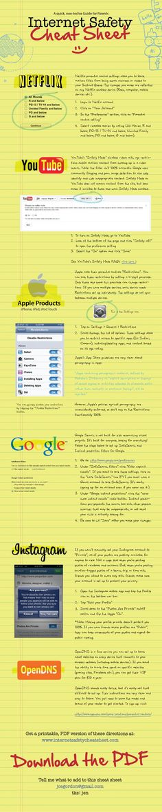 Internet Safety for Kids and Teens. This is a quick cheat sheet for non-techie parents who care about keeping their kids safer online. Excellent resource!!!!!