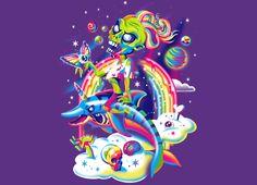 """Rainbow Apocalypse"" by Julia Sonmi Heglund Lisa Frank style zombie riding a unicorn shark through rainbows. Lisa Frank Clothing, Lisa Frank Stickers, Apocalypse Art, Gothic, Pastel Goth, Rainbow Colors, New Art, Aesthetic Wallpapers, Sleeve Tattoos"