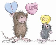 """""""Muzzy and Monica"""" from House-Mouse Designs® featured on the The Daily Squeek® for July 31st, 2013. Click on the image to see it on a bunch of really """"Mice"""" products."""