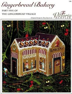 Victoria Sampler Gingerbread Bakery - Cross Stitch Pattern. Part five of the Gingerbread Village series.