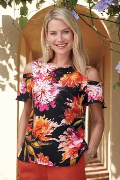 Tropical Print Cold Shoulder Blouse: Classic Women's Clothing from #ChadwicksofBoston $39.99