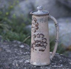 """Raku pot for herbs.. Also good for coffee or juices. 1 liter. $60.00. """"Ostrovok"""" pottery studio.  Травник раку """"Кувшин пещерного человека"""". Объём 1 литр."""