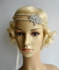 Gorgeous 1920's rhinestone flapper headband,1920s wedding Gatsby rhinestones flapper Headpiece headband,Bridal Wedding Rhinestone Headpiece