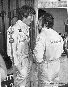 Jochen Rindt and Jackie Stewart, 1970 Austrian Formula 1 GP. Jackie Stewart, Formula 1, Grand Prix, Le Mans, Aryton Senna, Jochen Rindt, Famous Duos, F1 Drivers, F1 Racing