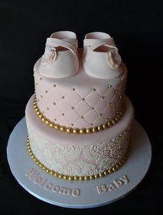 Pink and gold baby girl shower cake. Torta Baby Shower, Tortas Baby Shower Niña, Baby Party, Baby Shower Parties, Baby Shower Themes, Baby Shower Decorations, Baby Shower Cake For Girls, Shower Ideas, Baby Shower Elegante