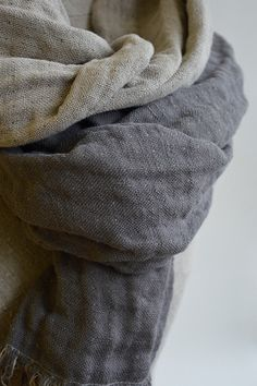 Men Linen scarf  Linen Gray wrap  Duplex Scarf  by CottonMood