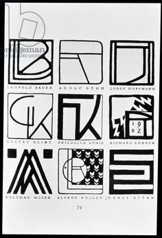 Monograms of nine Jugendstil artists: Leopold Bauer, Adolf Bohm (1861-1927), Josef Hoffmann (1870-1956), Gustav Klimt (1862-1918), Friedrich Konig, Richard Kuksch, Kolomon Moser, Alfred Roller and Ernst Stohr