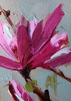 Magnolia Blossom no. 26 Original Oil Painting by Angela Moulton ACEO Art Oil Painting App, Oil Painting Frames, Oil Painting For Sale, Mauve, Magnolia Paint, Still Life Flowers, Still Life Art, Fantastic Art, Abstract Flowers