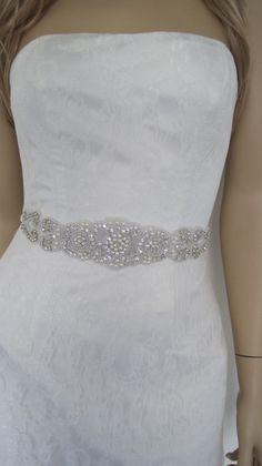 Crystal bridal sash pearl wedding belt by Diamondweddingveil, $79.00