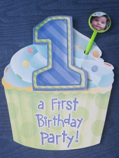 Personalize a store-bought invitation for your baby's first birthday by adding a photo flag of the birthday boy or girl! With a party pic and a circle craft punch, you're good to go. See how we did it at http://www.youcanplanaparty.com/planning/invitation/104-invitations-milestone-birthday.html.