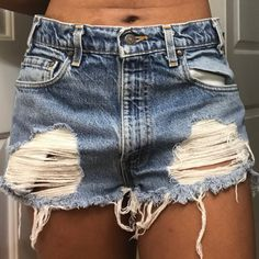 686cbaf27b Depop - The creative community's mobile marketplace. Distressed High  Waisted ShortsDenim ShortsJean Shorts. Can fit sizes ...