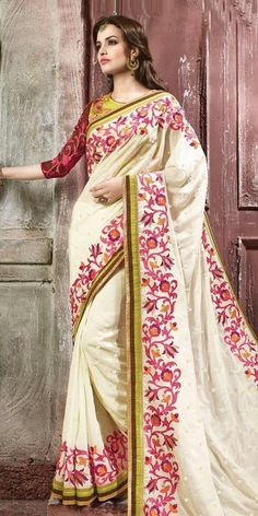 Lovely Off-White And Green Georgette Saree With Blouse.