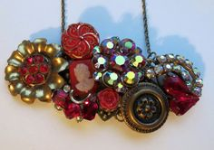 Vintage Repurposed Collage Necklace Regal Reds by LucysRedRose, $30.00