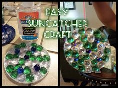 Easy Suncatcher Craft  www.khenry.SBC90.com  What You Need: Plastic container lid (I used one from my Ricotta cheese container) Clear school glue (regular is fine but will dry a little cloudy) String or thread for hanging Suction cup window hooks (optional- you can just tie the string to the window latch instead) Decorator marbles/gems (We get ours from the Dollar Tree but you can find them just about anywhere)  Directions: Arrange the marbles/gems on the lid any way that you like. The more…