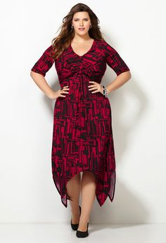 Knot Print Sharkbite Dress-Plus Size Dress-Avenue
