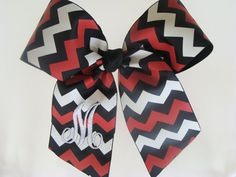 Monogrammed Chevron Hair Bow Cheer by MaciesCustomBowZ on Etsy, $10.00