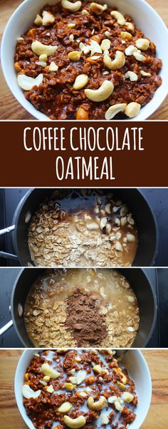 Coffee-Chocolate Oatmeal Makes 2 servings INGREDIENTS 1 cup rolled oats ¾ cup strong coffee 1 ¼ cups whole milk Pinch of salt 1 tablespoon dark brown sugar, packed 1 tablespoon unsweetened cocoa powder 3 tablespoons chopped cashews The Oatmeal, Oatmeal Cake, Baked Oatmeal, Chocolate Oatmeal, Chocolate Coffee, Chocolate Ganache, Oatmeal Recipes, Coffee Recipes, Oatmeal Flavors