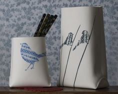 birds Porcelain Vessel by Wapa