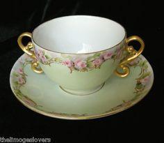 Stunning Handpainted Pink Roses Gilded Enameling T V Limoges Cup Saucer ca 1892-1907   eBay