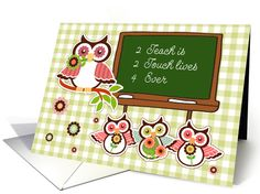 Happy Teacher Appreciation Week. Fun Owls with Chalkboard Message Design Greeting Cards with personalized inside greeting. at greetingcarduniverse.com