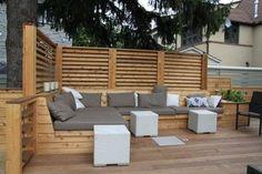 Montreal Outdoor Living – Urban Backyard Patio & Terrace in Hampstead Deck Seating, Built In Seating, Garden Seating, Outdoor Seating, Outdoor Spaces, Outdoor Living, Outdoor Decor, Deck Benches, Patio Bench