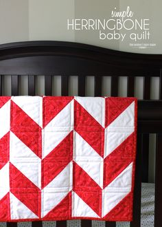 a fun and simple herringbone quilt for baby!
