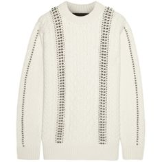 Alexander Wang Embellished cable-knit wool sweater (3,165 CAD) ❤ liked on Polyvore featuring tops, sweaters, white, white cable knit sweater, alexander wang top, wool cable sweater, white embellished top and white sweater