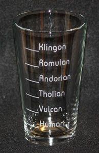 Star Trek Klingon Romulan Vulcan Drinks Custom Etched Pint Glass
