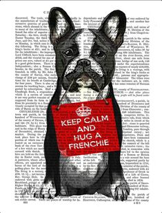 'Keep Calm and Hug a French Bulldog', Pop art.
