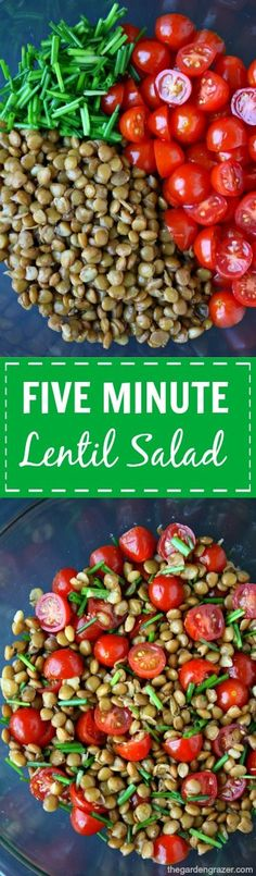 This 5 minute, 5 ingredient healthy lentil salad is packed with tons of flavor and protein! So good for quick lunches, easy snacks, and road trips! (vegan, gluten-free)