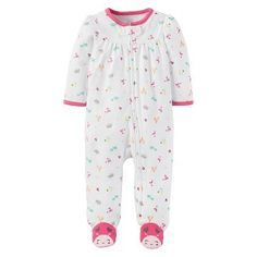 Baby First Christmas Santa Red Green Coverall Velour Footed Sleep n Play 3M 6M