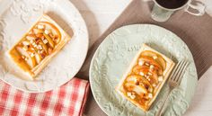 Easy Danish Pastries, topped with apple, white cheese, pine nuts and apricots