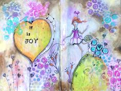 """""""Shout your joy from the hills"""" Artist Pamela Vosseller. Mixed media journal page."""