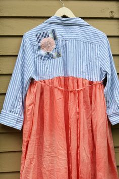 XL Tie back dress Casual upcycled clothing Rustic by SaidoniaEco