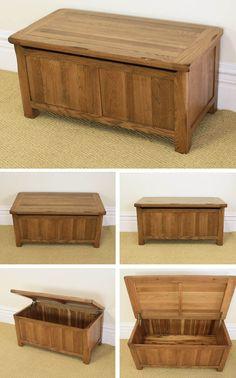 awesome Rustic Oak Blanket Box