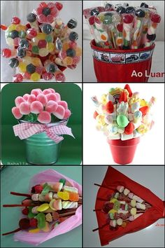 Macetas de chuches Candy Table, Candy Buffet, Candy Cakes, Cupcake Cakes, Diy Birthday Gifts For Sister, Candy Kabobs, Candy Bouquet Diy, Edible Bouquets, Chocolate Wrapping