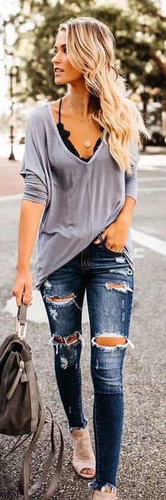 fall outfits gray long-sleeved deep V-neck shirt. fall outfits gray long-sleeved deep V-neck shirt. Sarah Looks Women&;s Sweaters […] fall outfit Mode Outfits, Casual Outfits, Fashion Outfits, Womens Fashion, Fashion Clothes, Fashion Ideas, Ladies Outfits, Jackets Fashion, Fashion Hacks