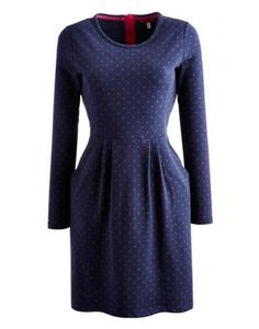 Joules Womens Jersey Sweater Dress, French Navy Spot.                     Made from heavier cotton this is a dress for pulling on and wearing anywhere.  Gently fitted, with front pockets and pleats that skim and drape flatteringly.  Designed to sit above the knee, it's easy to wear and incredibly comfortable too. You'll wonder how you ever managed without this dream of a dress.
